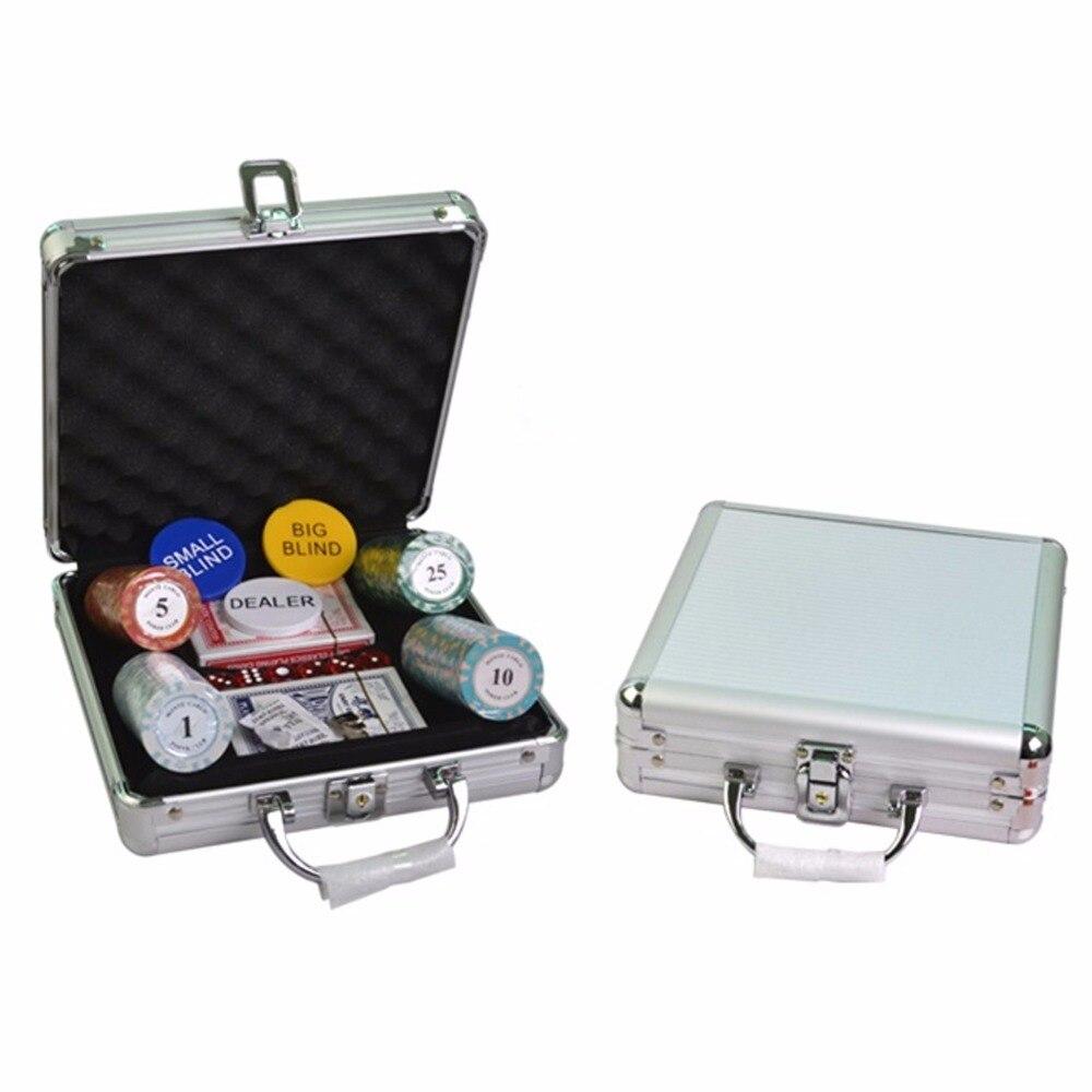 Jetons de Poker Banque 100 pièces D'argile Chips & table de Poker blackjack mise en page & Distributeur + 2 Stores et 2 cartes À Jouer et 6 dés