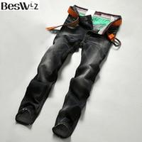2016 Beswlz Men Denim Jeans Straight Slim Male Jeans Pants Fashion Classical Casual Business Style Men