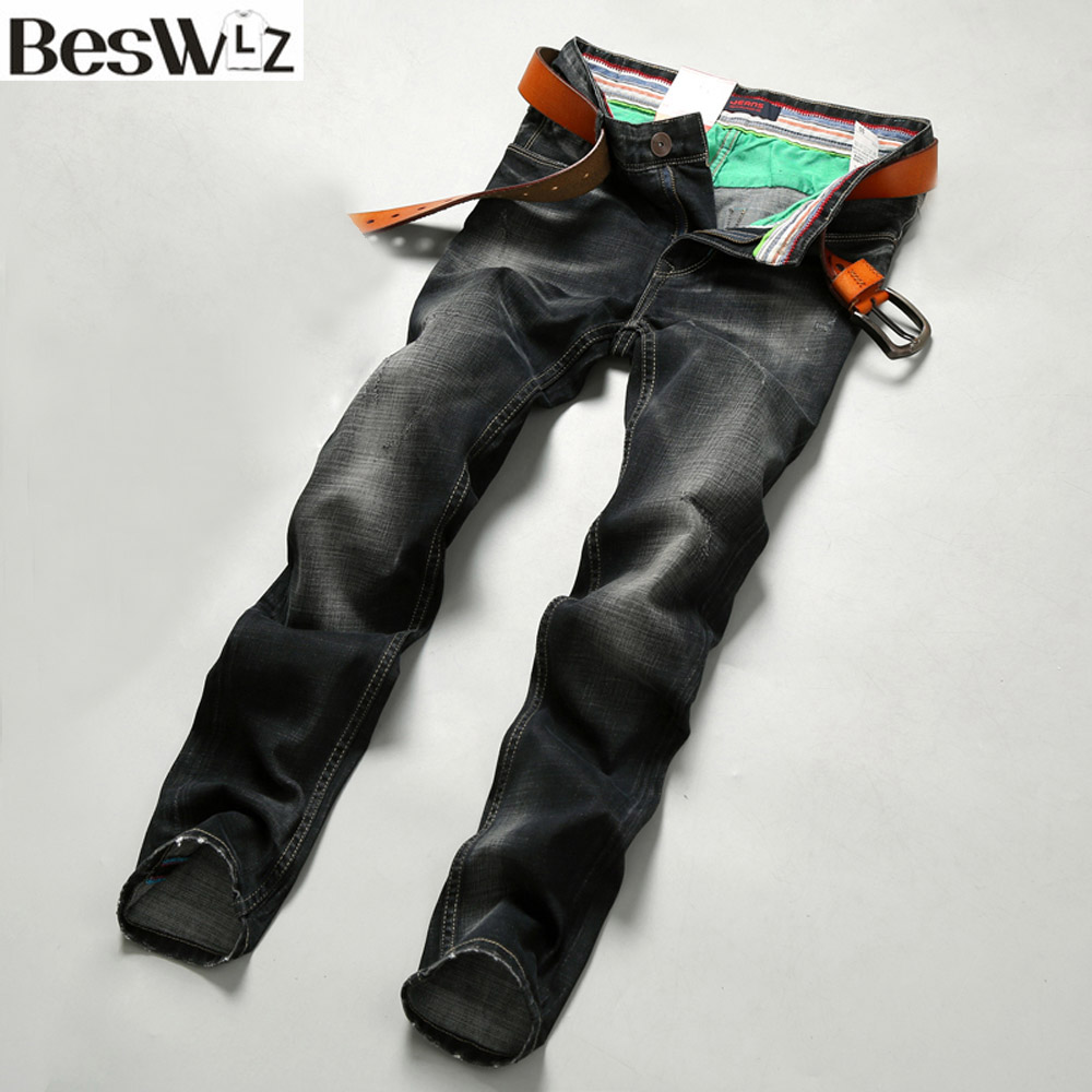 Beswlz Men Denim Jeans Straight Slim Male Jeans Pants Fashion Classical Casual Business Style Men Ripped Black Jeans 9514 dacom carkit wireless bluetooth headset earphone with mic car charger for apple iphone 7 plus airpods android xiaomi samsung lg
