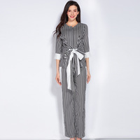 Europe Style 2017 Latest Spring Summer O Neck Three Quarte Sleeve Striped Top Fashion Full Length