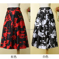 50s Vintage Style Retro Swing Rockabilly  black red floral  Skirt 2 colors