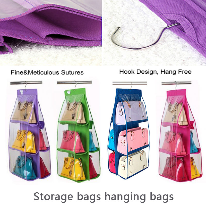 Double Side Design Hanging Bag 90cmx35cmx35cm Wardrobe Closet Storage Bedroom Storage Non Woven Fabric Double-sided Six Grid To Ensure A Like-New Appearance Indefinably Home & Garden