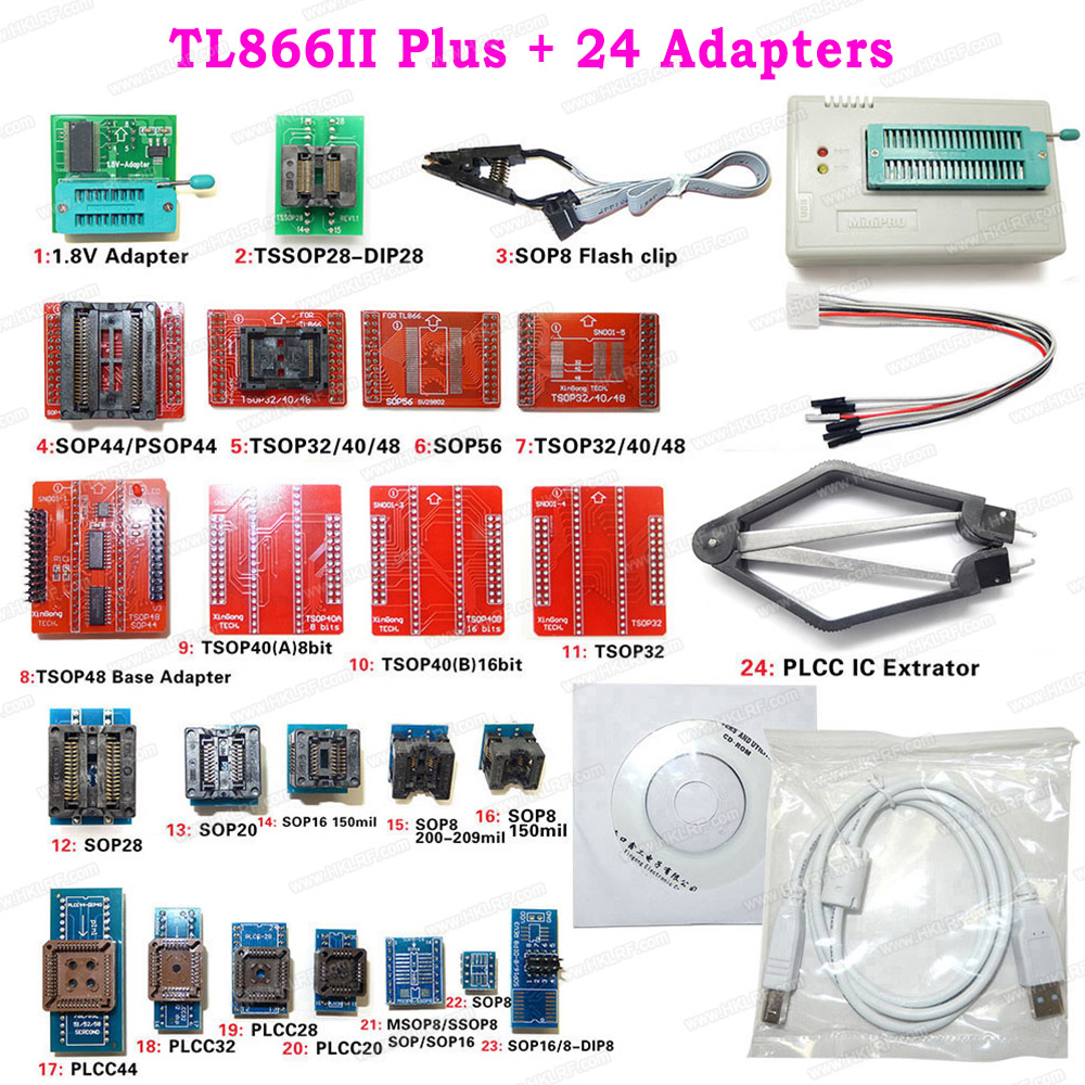 TL866II Plus Universal Minipro Programmer 24 Items With Test Clip TL866 PIC Bios High Speed Programmer