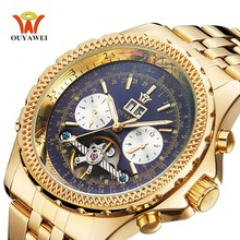 Luxury Brand OUYAWEI Automatic Tourbillon Watch Yellow Gold Men With Auto Date Mechanical Wrist Watch Stainless Steel montre classic mens auto date self winding mens watch tourbillon men automatic luxury men wrist watch mechanical simple watch
