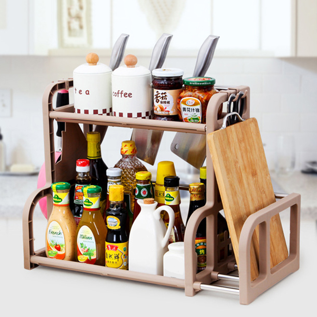Aliexpress com buy hipsteen 2 layer multifunction kitchen storage rack seasoning rack kitchen storage shelves coffee from reliable kitchen storage shelves