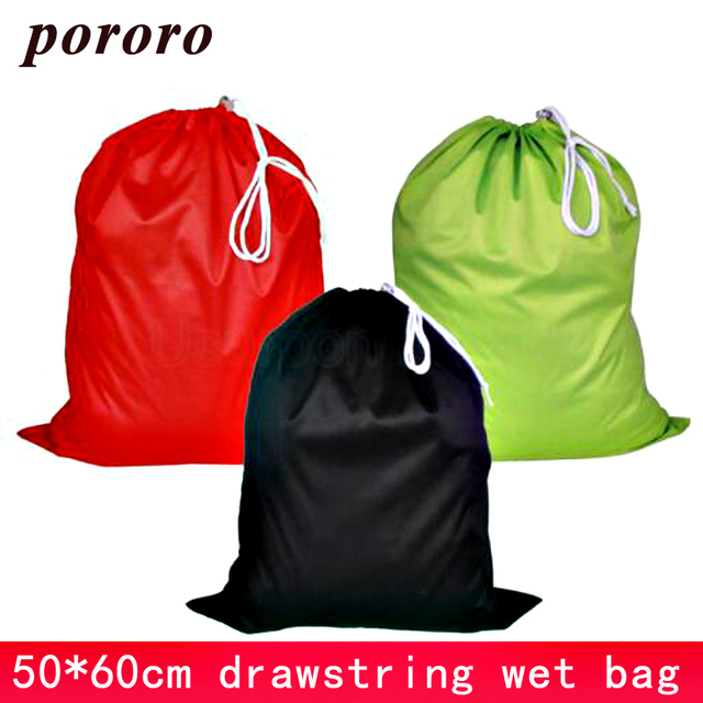 50*60cm Nappy Bag Draw Cord Reusable Cloth Diaper Wet Bag TPU Solid Waterproof Drawstring Changing Mat Wet Bag Waterproof