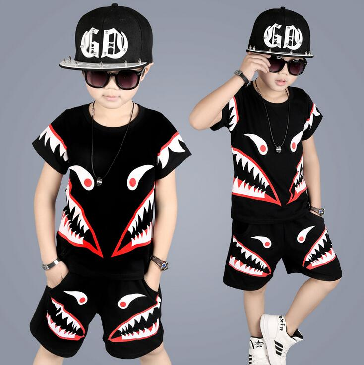 2017 Summer Boys clothing sets Shark pattern suits summer cotton T-shirt + beach shorts Sport Tracksuit For 2 4 6 8 10 12 Years