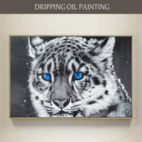 Artist Team Directly Supply High Quality Blue Eyes Tiger Oil Painting Hand painted White Tiger with Blue Eyes Oil Painting