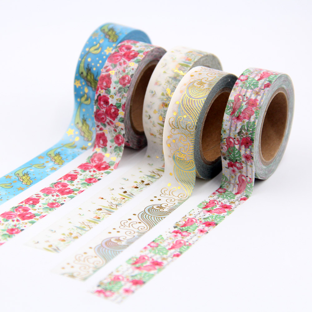 New 10m Foil Washi Tape rainbow, mermaid,floral and christmas design Scrapbooking Christmas Decorative Masking Tape high quality gold foil 10m paper tape dot strip pineapple heart christmas decorative washi tape 1pcs