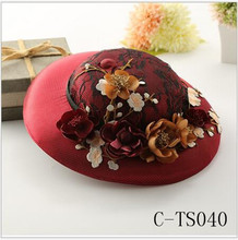 C-TS040 Classical Burgundy Morden Hat Beautiful Elegant Flower Bridal Hat Hair Accessories