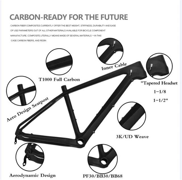 new design light weight t1000 carbon mtb frame 275er carbon mountain bike frame sizes 151719 2years warranty - Mountain Bike Frame Sizes