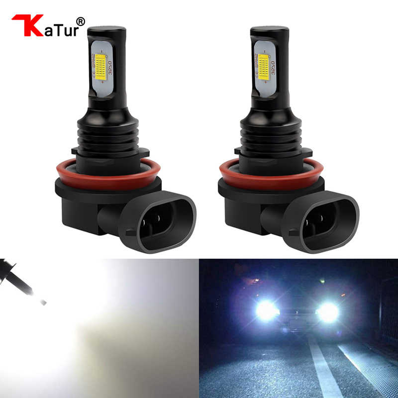 Katur 2pcs H11 H16 LED Bulbs Car Led Driving Running Lights Fog Light DRL Auto Lamp 12V 6000K White 3000K Gold Canbus Error Free