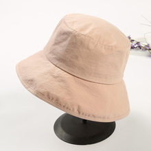 d36c6a491d8433 Summer girl solid color Bucket Hats shading flat caps outdoor fishing  hunting fisherman sunscreen folding cap