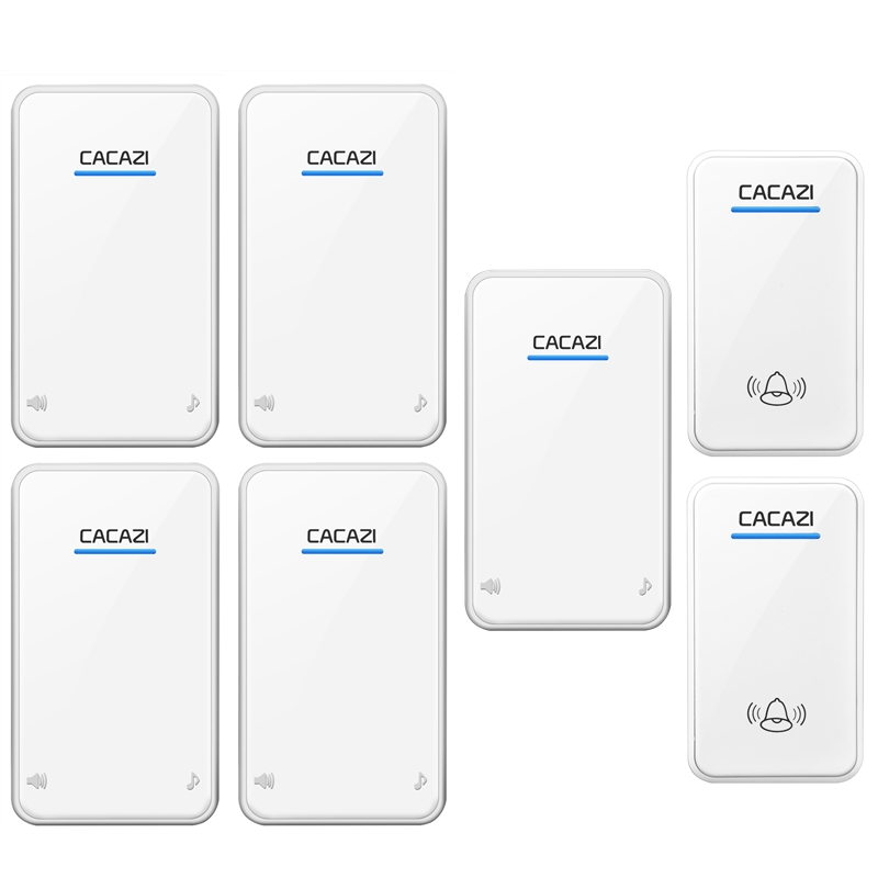 CACAZI DC Wireless Doorbell battery-operated 2 transmitters+5 receivers 300M remote door bell 48 rings 6 volume door chime 2 receivers 60 buzzers wireless restaurant buzzer caller table call calling button waiter pager system
