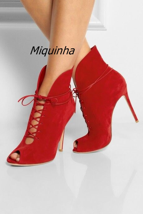 Glamorous Red Suede Cross Strap Booties Fashion Summer Stiletto Heel Lace Up Ankle Boots Sexy Cut-out Open Toe Sandals fashion navy suede cross strap block heel sandals sexy cut out open toe lace up heels classy slingback chunky heel dress sandals