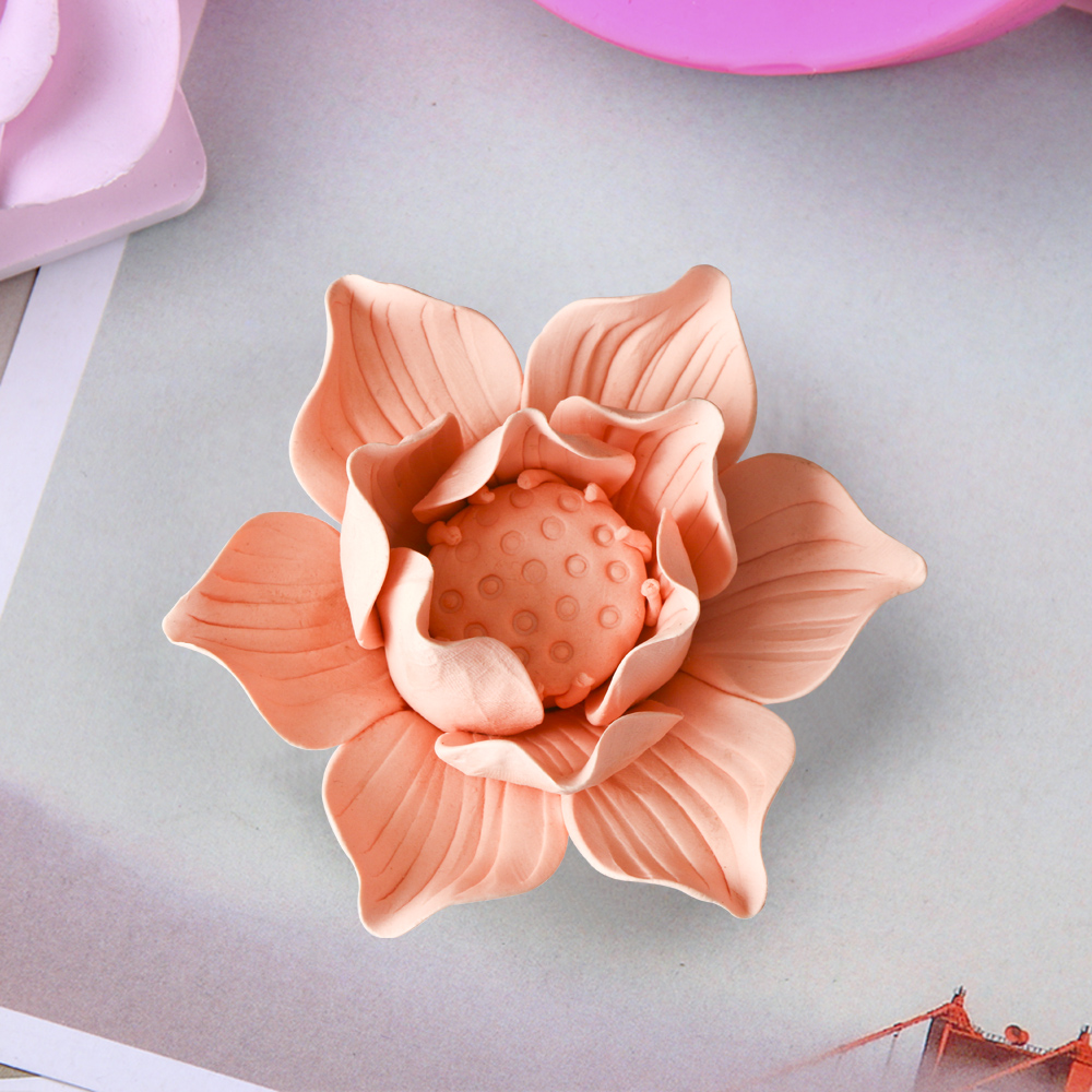 HC0028 Silica gel 3D molds Lotus soap mold jasmine silicone rose flowers candle aroma mould camellia handmade making moulds