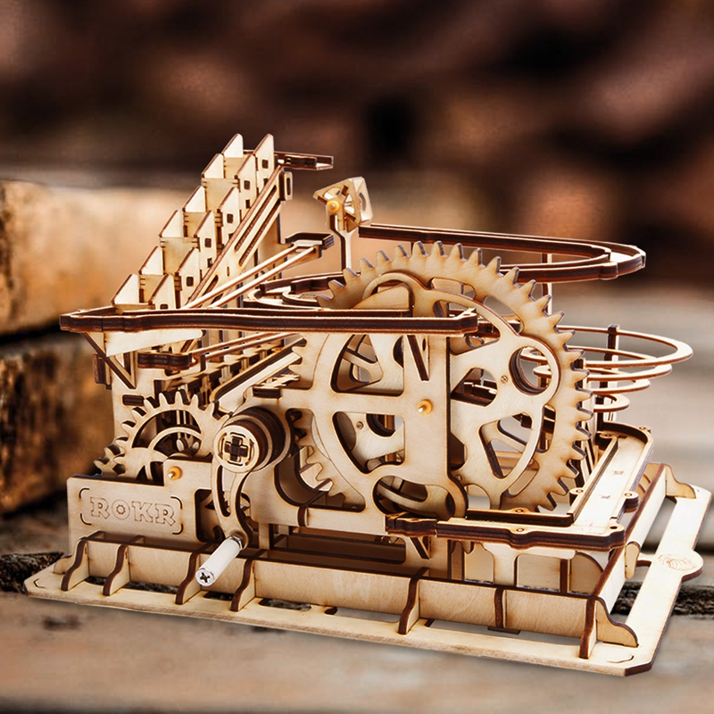 Image 2 - ROKR DIY Marble Run Game 3D Wooden Puzzle Gear Drive Waterwheel Coaster Model Building Kit Toys for Children Adult LG501-in Model Building Kits from Toys & Hobbies