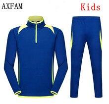 AXFAM  Kids Long sleeves Soccer Jerseys Sets survetement football 2017 Training Suit Running Football Jacket pants LIE6501