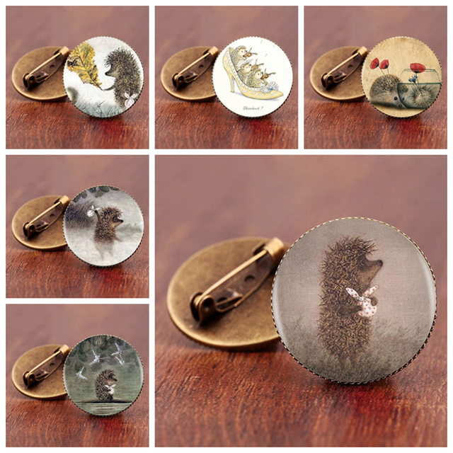 Vintage Animal Brooches With Adorable Hedgehog Painting