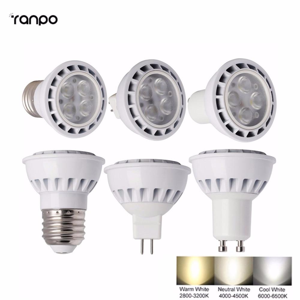 High Power 3030 SMD LED SpotLights E26 E27 GU10 MR16 12W Bulbs Ceiling Lamp DC 12V AC85-265V Down Light Lampada Warm/Cold White
