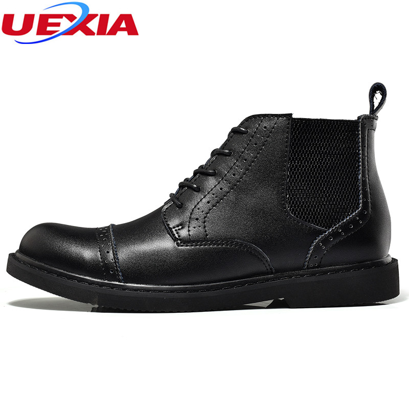 Mens Ankle Boots Patent Cow Leather High Top Men Dress Shoes Autumn Formal Dress Wedding Oxfords Ankle Boots Work Shoes Hombres top quality crocodile grain black oxfords mens dress shoes genuine leather business shoes mens formal wedding shoes