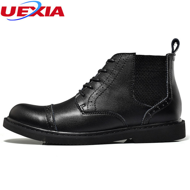 4cc1293bd7 Mens Ankle Boots Patent Cow Leather High Top Men Dress Shoes Autumn Formal  Dress Wedding Oxfords Ankle Boots Work Shoes Hombres