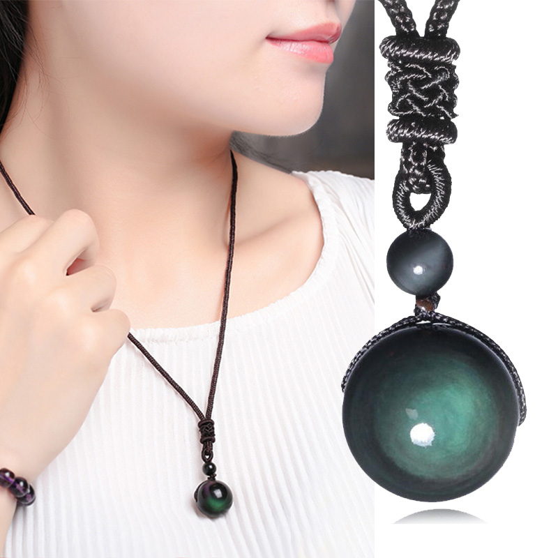 Unisex Necklace Trendy Fashion Stone Luck Lucky Obsidian Pendant Stone Necklace Chain 1PC LNRRABC Good Rope