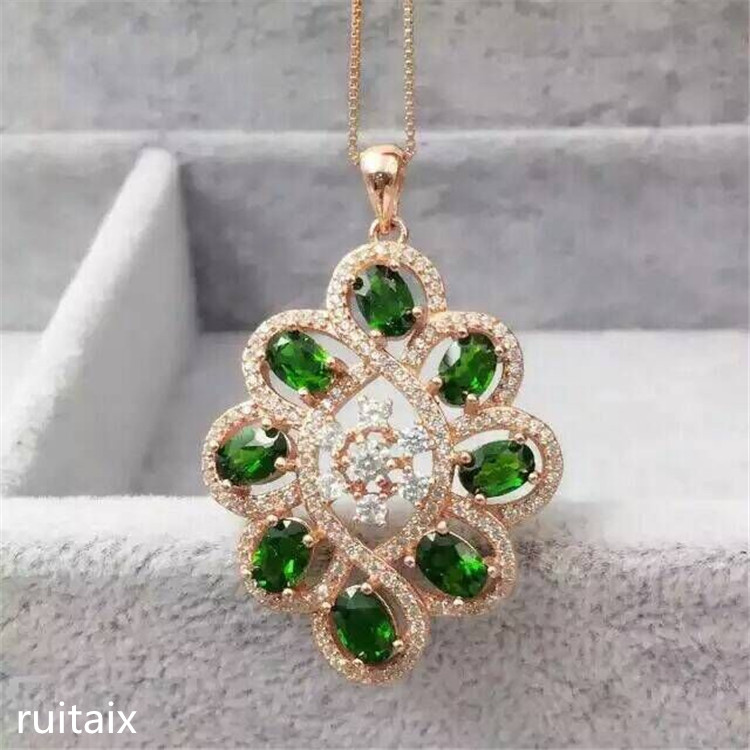KJJEAXCMY boutique jewels S925 Pure silver natural diophanous diamond pendant necklace inlay jewelry small and beautiful недорого