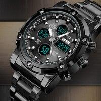 Analog Digital Uhren Männer Led Voller Stahl Männlichen Uhr Männer Military Armbanduhr Quarz Sport Uhr reloj hombre 2018 SKMEI-in Quarz-Uhren aus Uhren bei