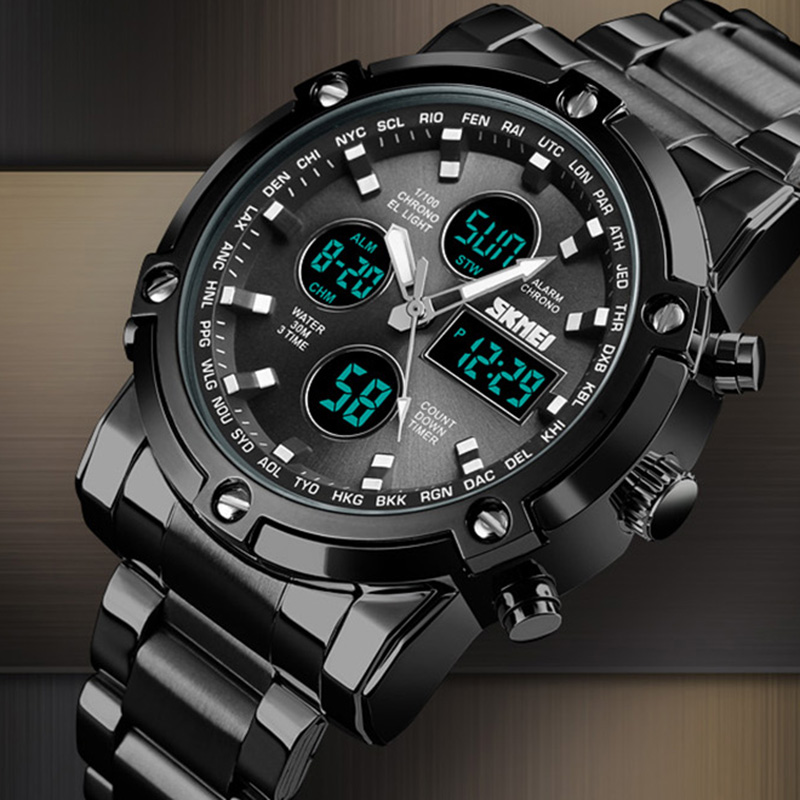Analog Digital Watches Men Led Full Steel Male Clock Men Military Wristwatch Quartz Sports Watch Reloj Hombre 2018 SKMEI