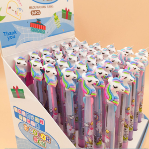 Image 5 - 30pcs/lot Lovely cartoon 3 In 1 Multi Color Writing ballpoint pen students black office signature pen Stationery for office