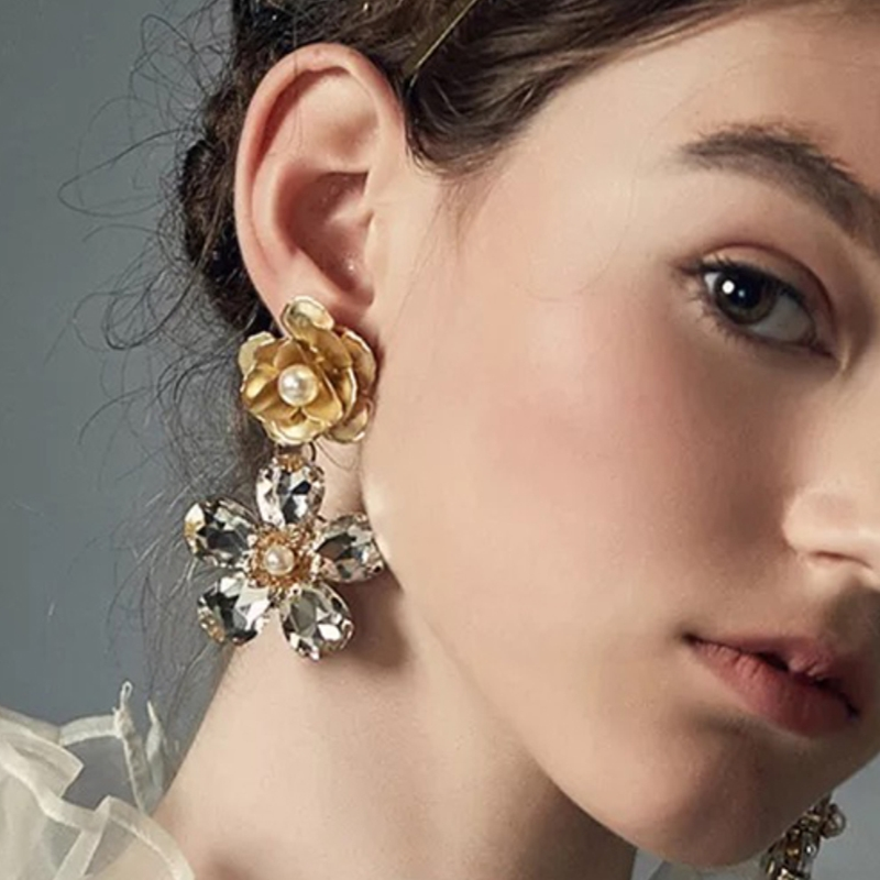JURAN <font><b>2019</b></font> Vintage Crystal <font><b>Flower</b></font> Dangle Drop <font><b>Earrings</b></font> classic jewelry Ethnic Metal Pearl <font><b>Statement</b></font> <font><b>earrings</b></font> <font><b>for</b></font> <font><b>women</b></font> image