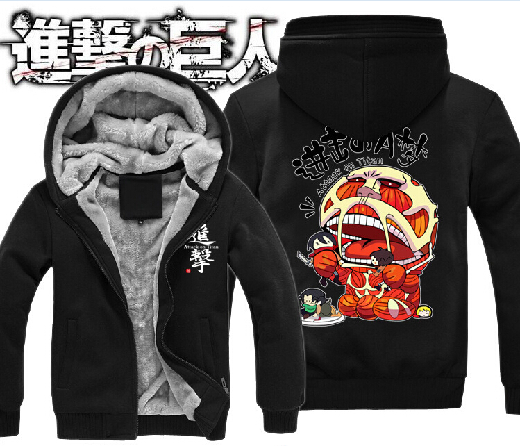Thick hoodies Attack on Titan Print women and men's Sweatshirts hoodies jacket suit cos Project Top quality Large size