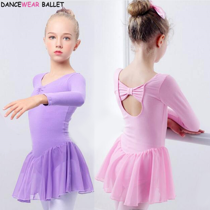 Girls Ballet Dress Gymnastics Leotard Long Sleeve Kids Child Pink Ballet Clothing Dance Wear With Chiffon Skirts For Girls