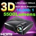Melhor!! alto brilho 1080 P multimídia Portátil 3D real de curto alcance dlp holográfica Projetor 5500 lumens lente Olho de peixe
