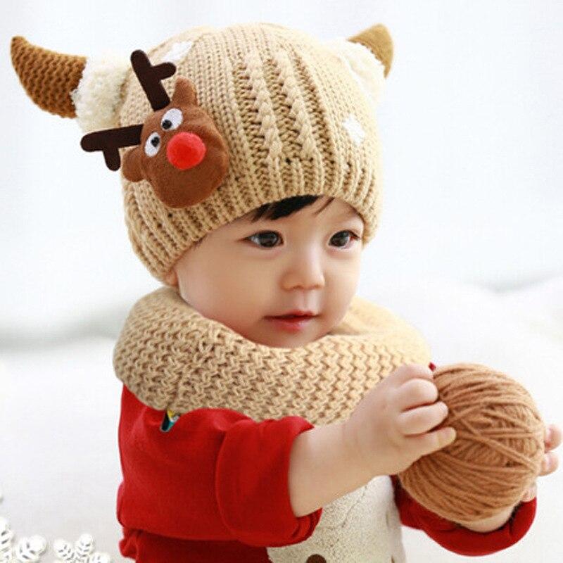 BomHCS Cute Cartoon Elk Winter Warm Crochet Plush Beanie Baby Cap Handmade Knitted Children Hat bomhcs cute big flower beanie winter lady s warm crochet knitted hat 10