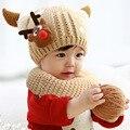 Bonito Dos Desenhos Animados Alce Inverno Quente Crochet Gorro De Pelúcia Cap Artesanal Bebê Cap Chapéu Feito Malha Das Crianças
