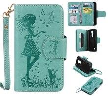 Зеленый девушка кошка тиснение карты 9 Слот Бумажник кожаный Стенд Флип Новый чехол для LG K7 случае