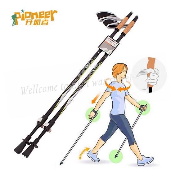 Outdoor 2t Straight Grip Handle Cork Telescopic Hiking Nordic Walking Stick Carbon Trekking Poles 88-135CM