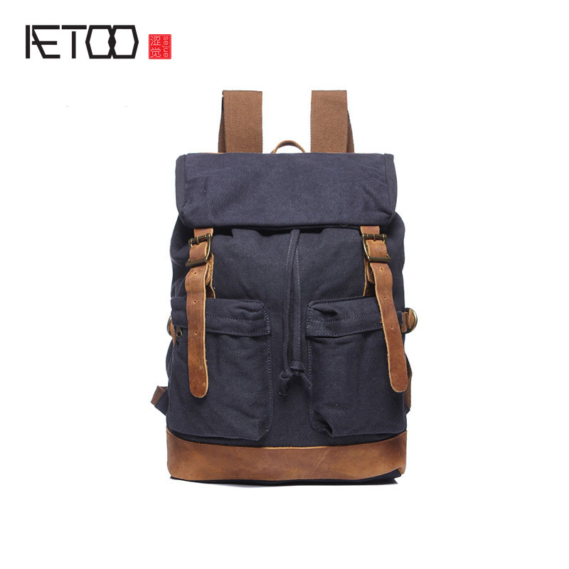 AETOO  new shoulder bag canvas bag retro large backpack men bag factory direct aetoo the new canvas shoulder bag tide retro shoulder bag student backpack two color stitching backpack computer bag