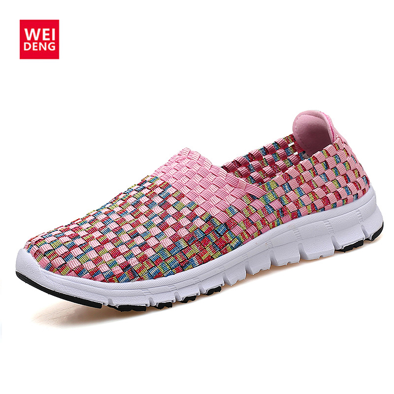 WeiDeng Knitting Colourful Casual Hand Woven Sandls Women shoe Making Colourful Breathability Tenis Unissex
