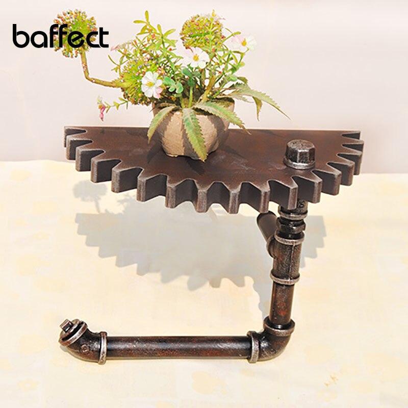 Baffect, винтажный Настенный декор, полка для хранения, настенная полка, деревянная железная черная шестерня, украшение стены для дома, бара, ма