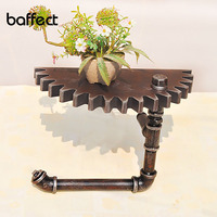 Baffect Vintage Wall Decor Storage Shelf Wall Shelf Wood iron Black Gear Wall Decoration for Home Bar Store American Country