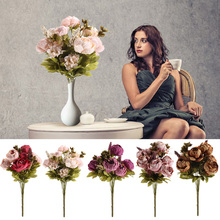 8 Cabezas de Flores Artificiales Weeding Decoración Ramo de Flores de Peonía Artificial Home Room Decor Nupcial Verdadero Toque de Flores