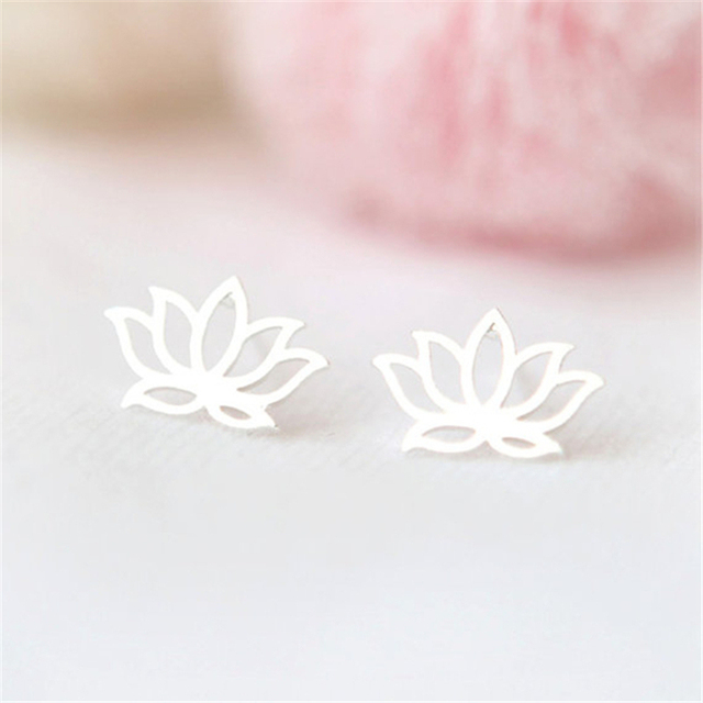 European And American Tiny Lotus Shape Earring New Simple Cute Metal Flower Stud