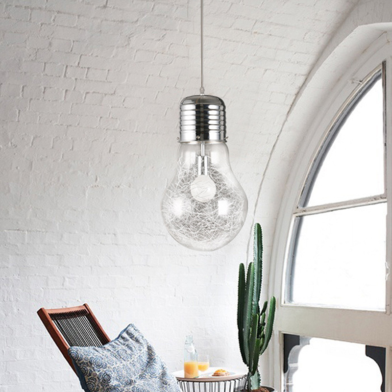 Personality large bulb Pendant lamp Restaurant bar Glass lighting Aisle silver Aluminum wire glass Pendant light Study led lamp