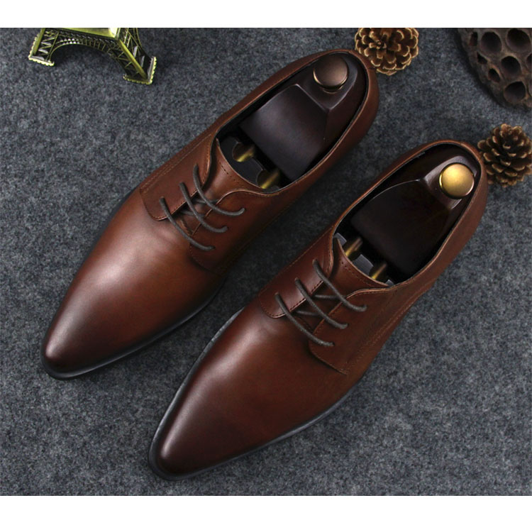 Brown Black Man Retro Fashion Real Leather Italy Shoes Pointed Toe Spring Autumn Dress Wedding Barque Party Prom Derby Shoes 2017 fashion winter jacket coat women long thicken down cotton padded faux big fur collar warm female outwear parkas woman