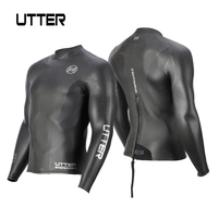 UTTER 2mm Yamamoto Neoprene Smoothskin Triathlon Jacket Wetsuit Top Black Back Zipper Sunscreen Surfing Keep Warm Swimming Coat