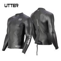 UTTER 2mm Yamamoto Neoprene Smoothskin Triathlon Jacket Wetsuit Top Black Back Zipper Sunscreen Surfing Keep Warm Swimming Coat