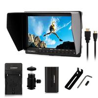 Feelworld FW 760 + Battery+Charger 7'' Video Monitor IPS Full HD 1920x1200 HDMI 1080p with Sunshade & mini HDMI Macro HDMI